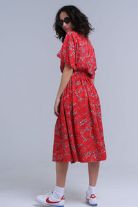 Red Flower Printed Maxi Dress