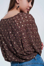 Load image into Gallery viewer, Blouse in Brown With Flower Print