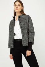 Load image into Gallery viewer, Black and White Short Jacket With Knit Cuffs