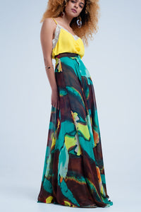 Brown Maxi Skirt With Print