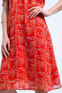 Red Dress With Printed Flowers and Ruffles