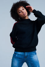 Load image into Gallery viewer, Black Glitter Mock Neck Sweater With Side Stripes