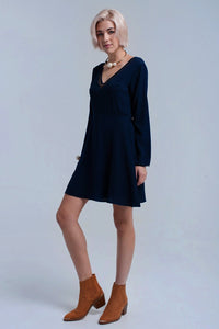 Navy Mini Dress With Lace and Sequins