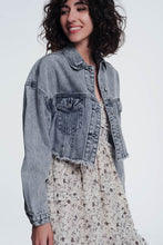Load image into Gallery viewer, Cropped Denim Jacket in Gray