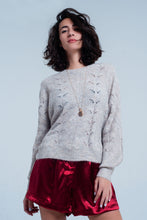 Load image into Gallery viewer, Beige Open Stitch Sweater in Fluffy Yarn