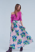 Load image into Gallery viewer, Pink Pleated Maxi Skirt  With Flower Print