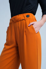 Load image into Gallery viewer, Orange Wide Leg Pants With Buttons