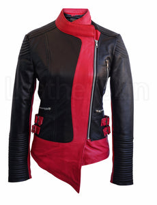 Women Brando Black Pink Leather Jacket