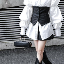 Load image into Gallery viewer, Daoko Pleated Puff Long Sleeve Shirt - White