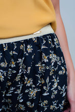 Load image into Gallery viewer, Long Navy Skirt With Floral Pattern