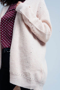 Pink Angora Cardigan With Long Sleeves