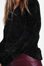 Load image into Gallery viewer, Long Sweater With Long Sleeves and V-Neck in Black