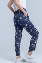 Load image into Gallery viewer, Navy Blue Pants With Floral Print