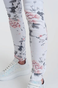 White Super Skinny Pants With Floral Print