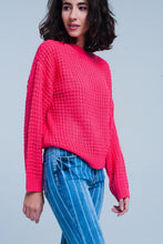 Load image into Gallery viewer, Fuchsia Chunky Waffle Knit Sweater