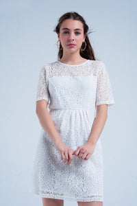 White Lace Short Sleeve Dress