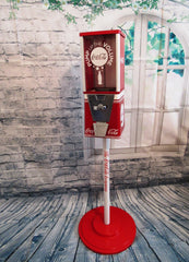 gumball machine  candy dispenser vintage Oak vending  Coca Cola soda man cave bar game room accessories  cola memorabilia machine with stand