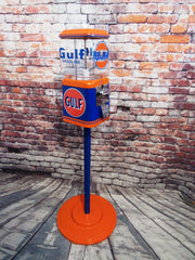 Vintage Acorn gumball machine vintage themed Gulf gasoline  + stand man cave game room collectibles an amazing addition for your game room