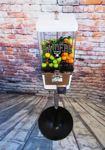 Oakland Raiders football inspired vintage gumball candy machine custom made sport team novelty gift man cave  game room accessories man gift