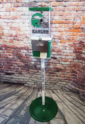 vintage gumball candy machine + stand restored Philadelphia Eagles  novelty gift man cave  game room living room decor Football NFL fans
