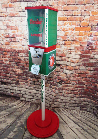 SINCLAIR dino gasoline station vintage gumball machine  candy gumball vending machine with stand man cave accessories home decor sign gift