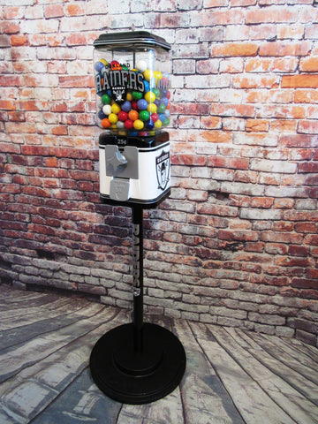 vintage gumball candy machine + stand Oakland Raiders inspired novelty gift man cave living room decor game room collectibles