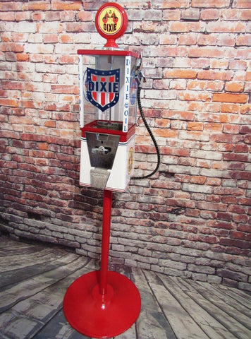Dixie oil  VINTAGE gumball machine candy machine petro collectibles candy gumball vending machine holiday birthday gift man cave bar decor