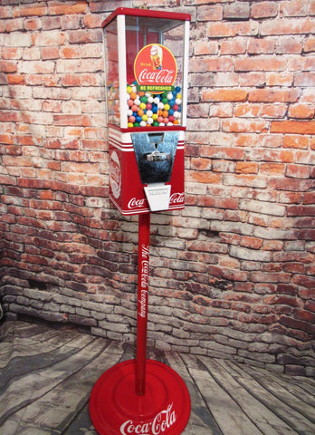 gumball machine candy dispenser vintage vending machine Coca Cola  man cave bar game room accessories  cola memorabilia machine with stand