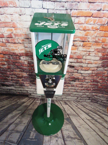 vintage gumball candy machine + stand NY Jets inspired novelty gift man cave living room decor vintage Oak machine  NFL Jets Jets Jets!!!