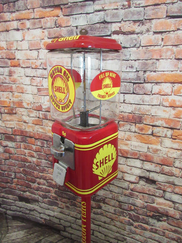 vintage gumball candy machine + stand Shell Motor oil inspired novelty gift man cave living room decor game room collectibles