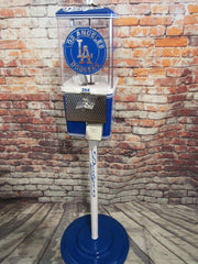 vintage gumball candy machine restored + all metal stand  themed Los Angeles Dodgers inspired great gift man cave living room decor