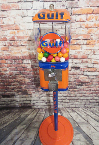 Vintage Acorn gumball machine vintage themed Gulf gasoline  + stand man cave game room collectibles bar decor accessories gift Americana