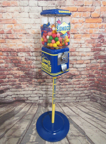 memorabilia gumball machine 1950's vintage Acorn glass globe penny gumball machine Blue Sunoco man cave bar Christmas gift for him