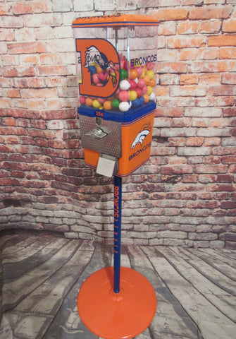 Denver Broncos  inspired vintage gumball machine/ candy machine man cave bar game room accessories orange crush unique gift