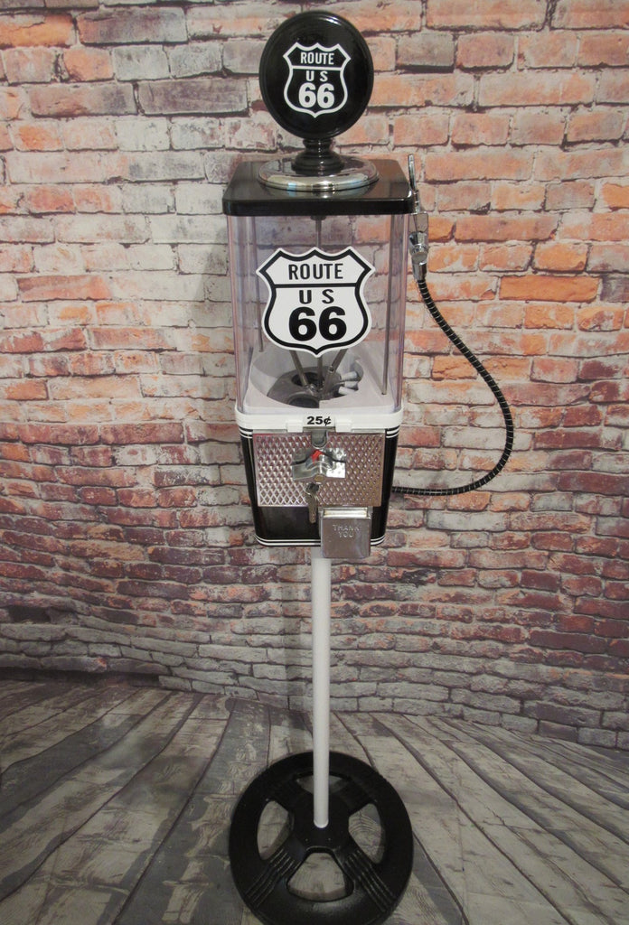 ROUTE 66 vintage gumball machine M&m dispenser Americana memorabilia + stand man cave bar game room home decor man gift bar accessories