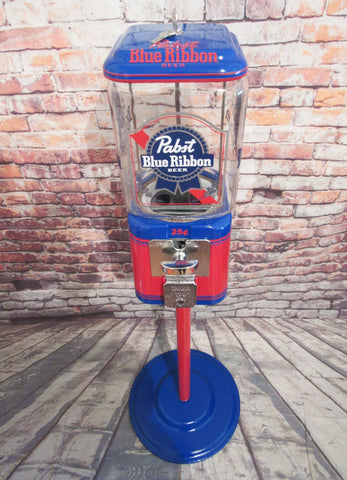 Pabst beer blue ribbon Vintage gumball machine Acorn glass globe  with stand man cave decor game room accessories man gift collectibles