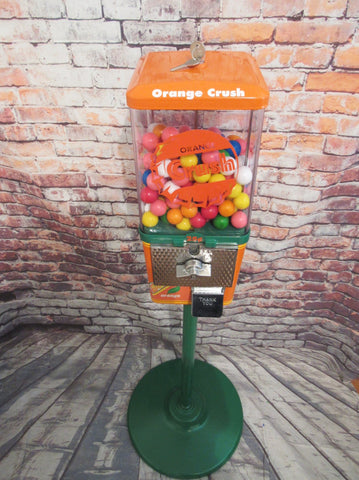 orange crush candy gumball machine + stand father's day gift man cave decor vintage coin op vending machine