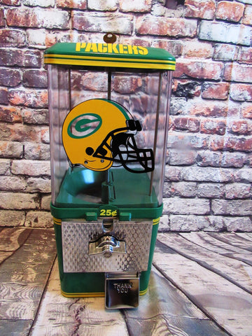 Green Bay Packers  inspired vintage gumball candy machine sport memorabilia gift man cave  bar living room decor NFL collectibles