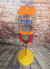 Pez candy inspired  Vintage gumball machine Acorn glass globe  with stand man cave decor game room accessories  gift collectibles