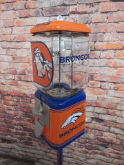 Denver Broncos inspired vintage gumball machine candy machine man cave bar game room accessories orange crush unique  gift for him