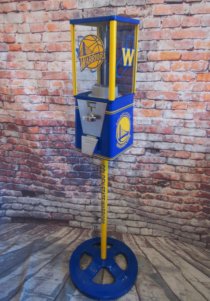 Golden state Warriors vintage gumball machine + Ford stand restored gift man cave living room decor NBA sport memorabilia game room gift