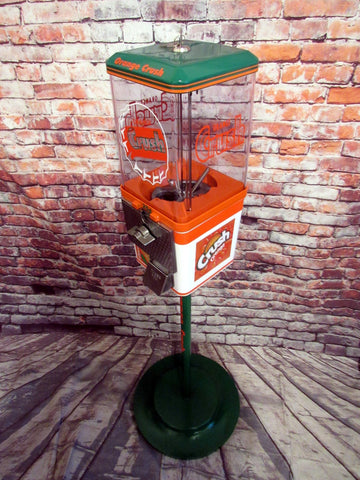 Orange crush gumball machine vintage vending machine  + metal stand man cave gift home decor bar accessories custom gift