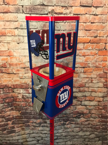 New York Giants  inspired vintage gumball candy machine + stand NFL gift man cave bar game room Christmas gift sport memorabilia