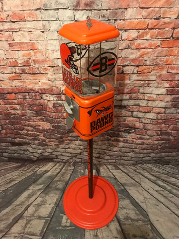 Cleveland Browns inspired vintage gumball candy machine + stand  gift man cave living room decor Birthday  game room bar Christmas gift