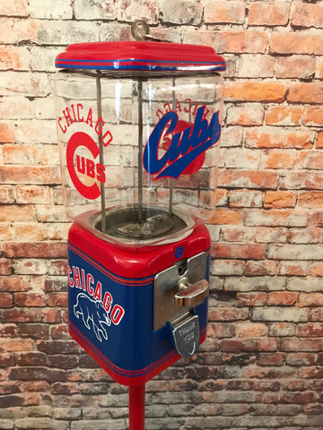 Chicago Cubs inspired vintage gumball dispenser Acorn gumball penny machine vintage coin operated with stand man cave accessories great gift