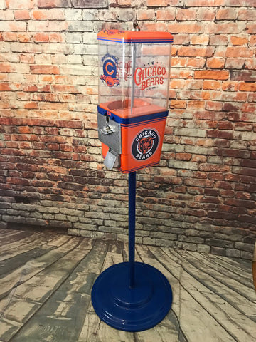 Chicago Bears inspired vintage gumball candy machine restored  with all metal stand great gift football  NFL fan Go Bears!
