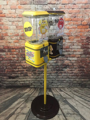 M&m inspired machine double Acorn penny machines on a stand peanuts  + chocolate M and M man cave game room gift