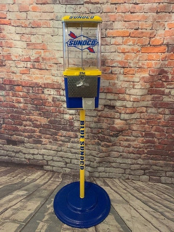 vintage gumball candy machine blue Sunoco gas station vintage machine with  metal stand man cave living room decor accessories gift