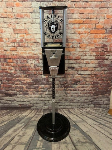 gumball machine candy dispenser Oakland Raiders inspired man cave decor novelty gift home office accessories Christmas gift