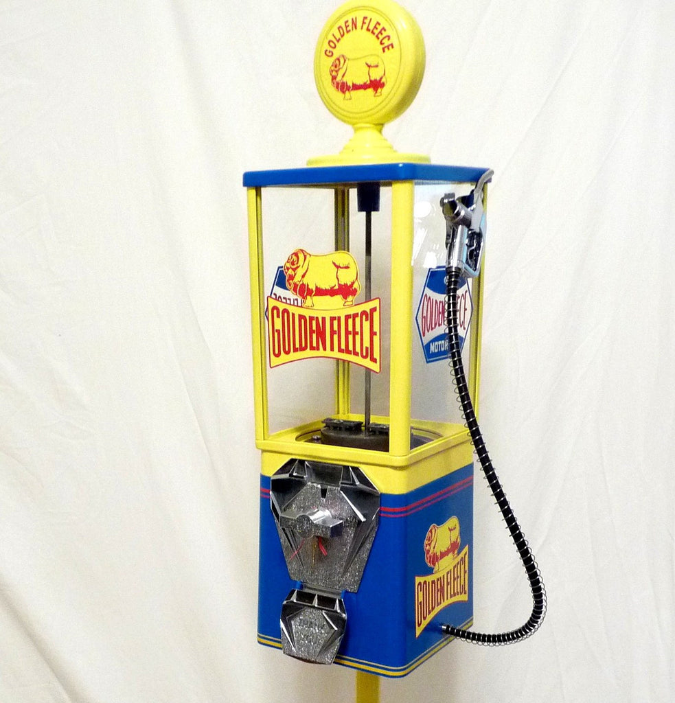 vintage OAK GOLDEN FLEECE  gasoline station gas pump candy gumball vending machine with stand man cave game room bar accessories